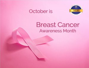 Breast Cancer Awareness Month pink ribbon with NUFI logo.